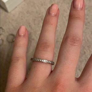 White enamel and cz ring from pandora